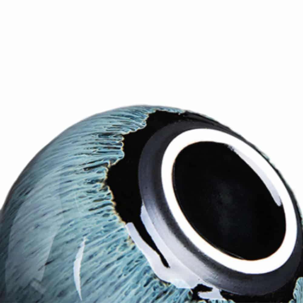 Urn keramiek water en vuur kwast blauw onderkant