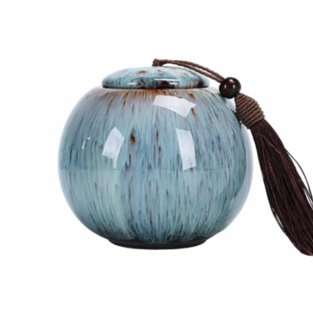 Urn keramiek water en vuur kwast blauw