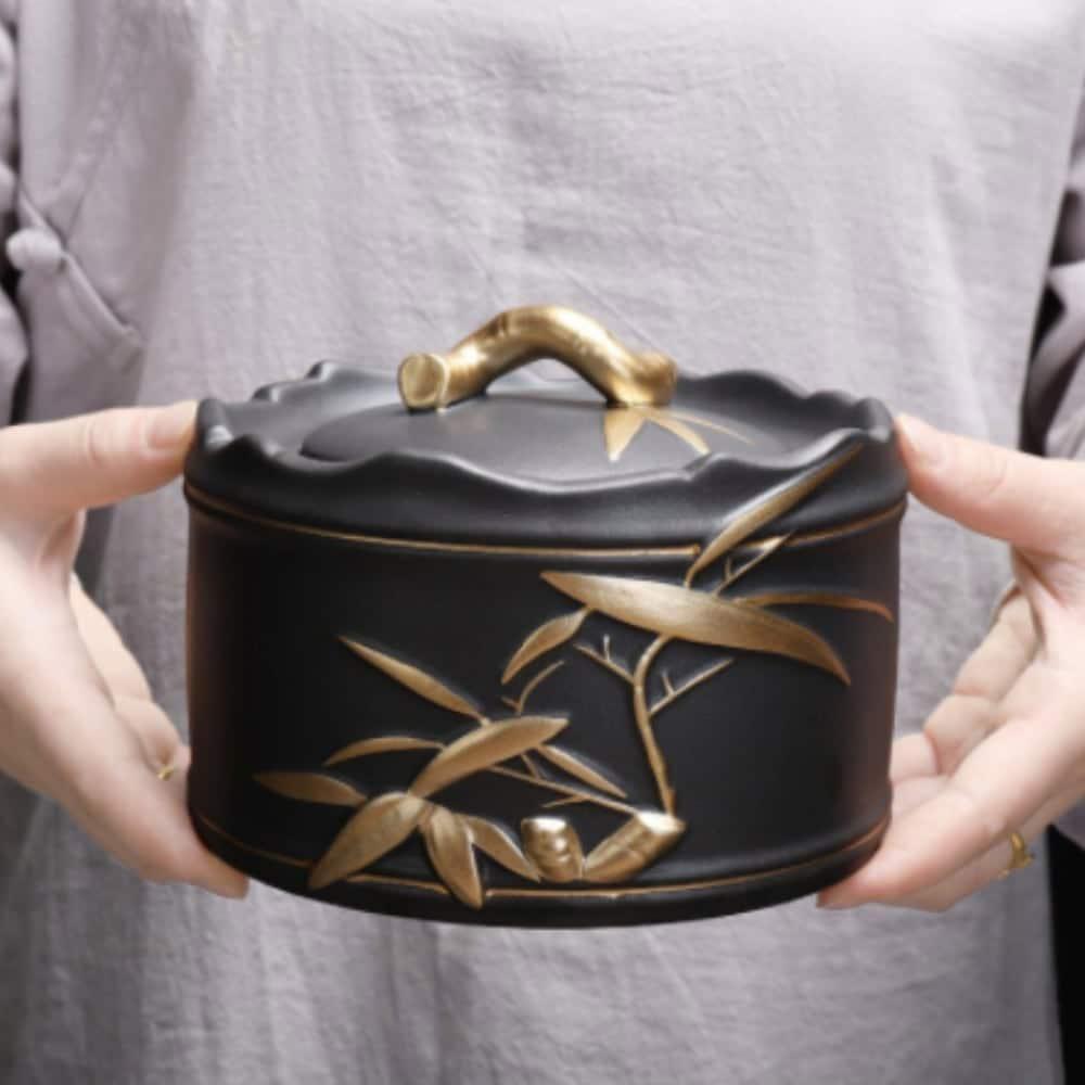 Urn keramiek Japans zwart goud bamboe sfeer