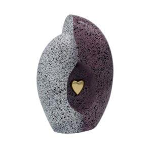 Duo urn aluminium grijs paars met gouden hart