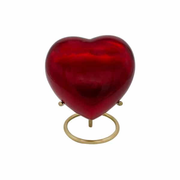 Mini urn rond hart op standaard rood