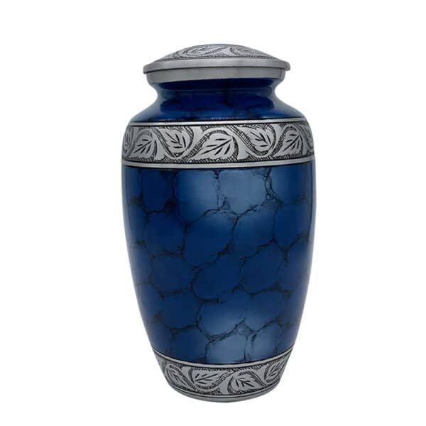 Urn klassiek blauw vuur design gravure